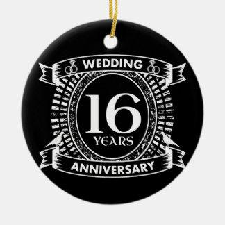 Adorno De Cerámica décimosexto aniversario de boda blanco y negro