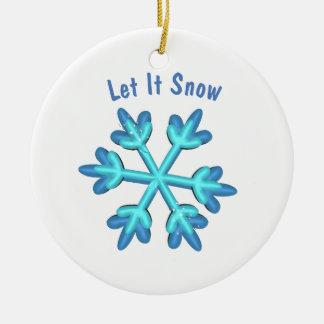 Adorno De Cerámica Dejáis le nevar con los copos de nieve 3D y nombre