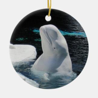 Adorno De Cerámica Día de fiesta blanco hermoso de la ballena de la