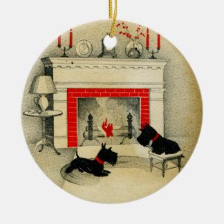 Adorno De Cerámica Día de fiesta de los perritos del navidad de