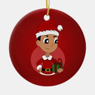 Adorno De Cerámica Dibujo animado del muchacho del navidad