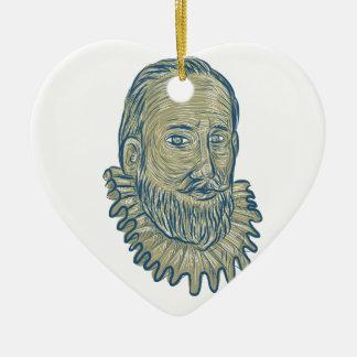Adorno De Cerámica Dibujo del busto de sir Walter Raleigh