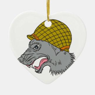 Adorno De Cerámica Dibujo principal del casco WW2 el gruñir del lobo