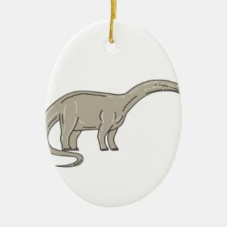 Adorno De Cerámica Dinosaurio del Brontosaurus que mira abajo de mono