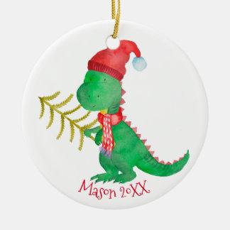 Adorno De Cerámica Dinosaurio del navidad de la acuarela