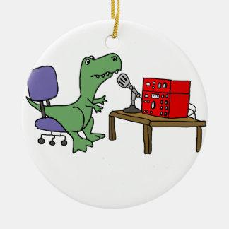 Adorno De Cerámica Dinosaurio divertido de T-rex en el equipo de