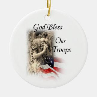 Adorno De Cerámica Dios bendice a nuestras tropas que ruegan ángel