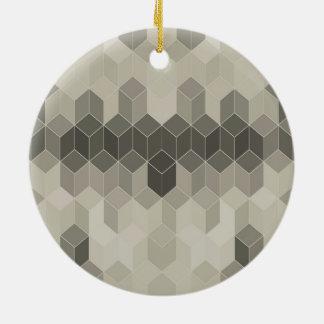 Adorno De Cerámica Diseño geométrico del cubo de la escala gris