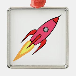 Adorno De Cerámica Diseño retro lindo del rosa y blanco de Rocketship