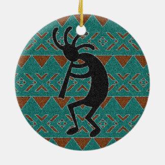 Adorno De Cerámica Diseño tribal de Kokopelli de la turquesa del
