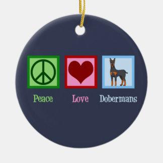 Adorno De Cerámica Dobermans del amor de la paz