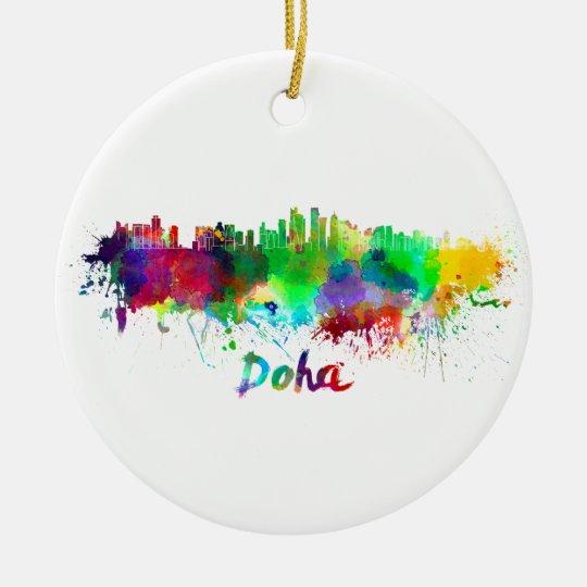 Adorno De Cerámica Doha skyline in watercolor
