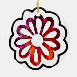 Adorno De Cerámica Doodle caprichoso del flower power