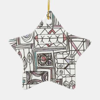 Adorno De Cerámica Doodle geométrico abstracto Peculiar-Caprichoso