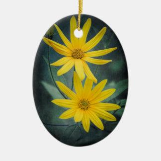 Adorno De Cerámica Dos flores amarillas de alcachofa de Jerusalén