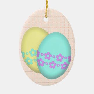 Adorno De Cerámica Dúo del huevo de Pascua de la flor