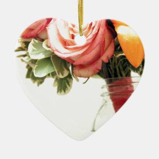 Adorno De Cerámica el boda florece personalizar anaranjado rosado del