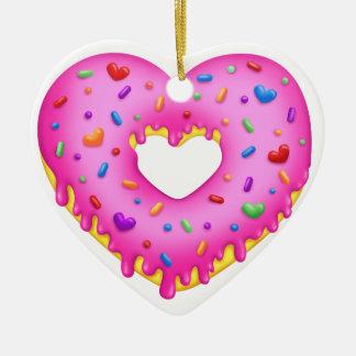 Adorno De Cerámica El buñuelo rosado del corazón con el arco iris