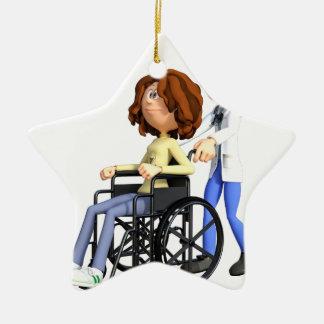 Adorno De Cerámica El doctor Wheeling Patient In Wheelchair del