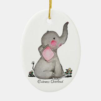Adorno De Cerámica El elefante lindo del bebé de la acuarela con se