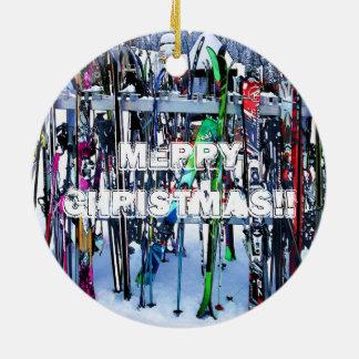 Adorno De Cerámica El fiesta del esquí - esquís y postes