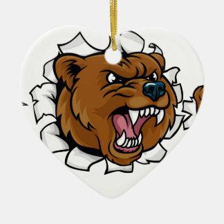 Adorno De Cerámica El fondo enojado de la mascota del oso agarra