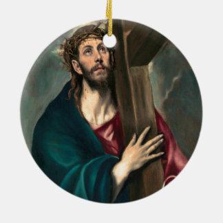 Adorno De Cerámica El Greco Cristo que lleva la cruz