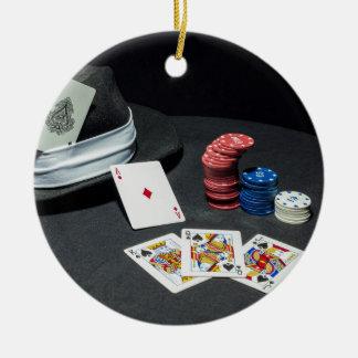 Adorno De Cerámica El póker carda el gorra del gángster