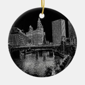 Adorno De Cerámica El río Chicago Wrigley 1967 que construye Sun mide