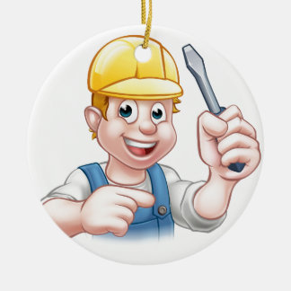 Adorno De Cerámica Electricista del dibujo animado que sostiene el