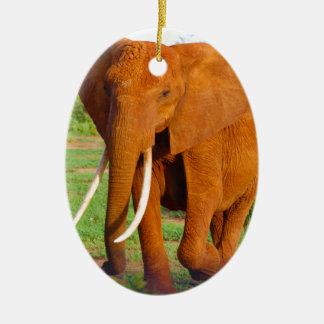 Adorno De Cerámica Elefante anaranjado hermoso