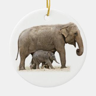 Adorno De Cerámica Elefantes asiáticos de la madre y del bebé