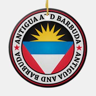 Adorno De Cerámica Emblema redondo de Antigua y de Barbuda