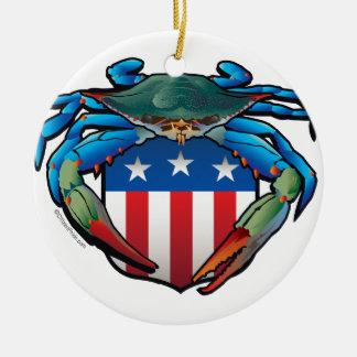 Adorno De Cerámica Escudo de los E.E.U.U. del cangrejo azul