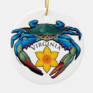 Adorno De Cerámica Escudo del narciso de Virginia del cangrejo azul