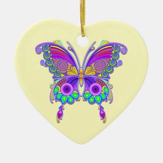 Adorno De Cerámica Estilo colorido del tatuaje de la mariposa