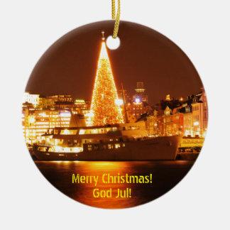 Adorno De Cerámica Estocolmo, Suecia en el navidad en la noche
