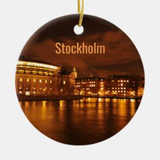 Adorno De Cerámica Estocolmo, Suecia en la noche