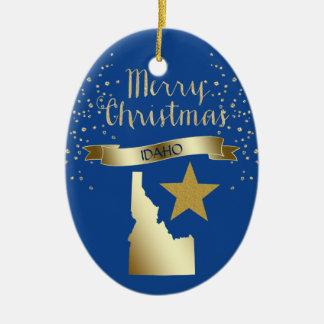 Adorno De Cerámica Estrella azul de Idaho del oro
