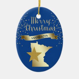 Adorno De Cerámica Estrella azul de Minnesota del oro