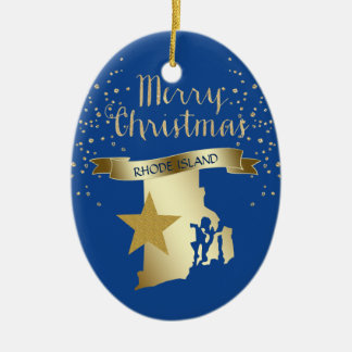 Adorno De Cerámica Estrella azul de Rhode Island del oro