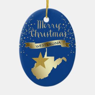 Adorno De Cerámica Estrella azul de Virginia Occidental del oro