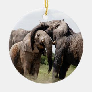 Adorno De Cerámica Familia del elefante de África