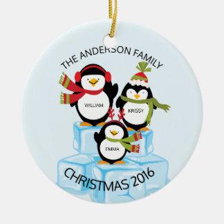 Adorno De Cerámica Familia personalizada linda de 3 navidad de los