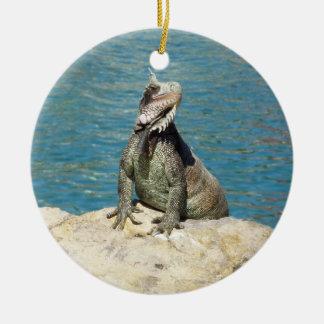 Adorno De Cerámica Fauna tropical de la iguana