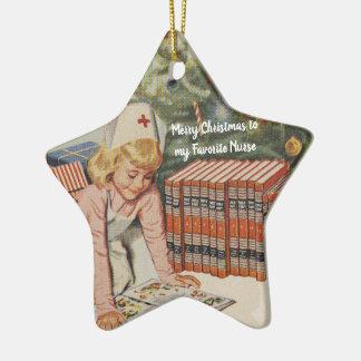 Adorno De Cerámica Felices Navidad a mi enfermera preferida - retra