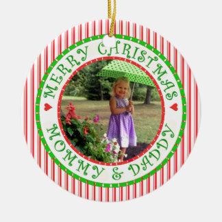 Adorno De Cerámica Felices Navidad mamá y bastón de caramelo de la