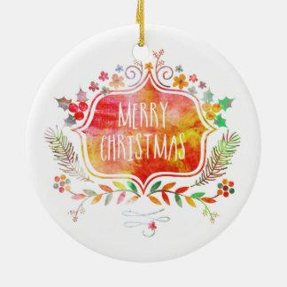 Adorno De Cerámica Felices Navidad retras de la acuarela