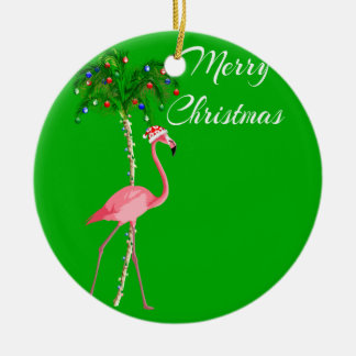 Adorno De Cerámica Flamenco de las Felices Navidad
