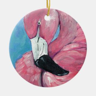 Adorno De Cerámica Flamenco rosado